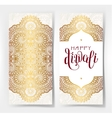 Happy Diwali gold greeting card with hand written vector image