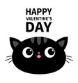 happy valentines day black cat head face oval vector image vector image