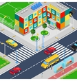 isometric city school building with playground vector image