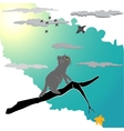 Kitten on a branch vector image vector image