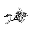 knight riding horse with golf club as lance side vector image vector image
