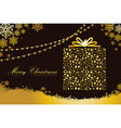 Merry Christmas gold gift box shape vector image vector image