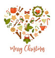 merry christmas winter holiday symbolic images in vector image vector image