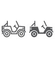 military vehicle line and glyph icon transport vector image vector image