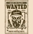 modern gangster skull in hat wanted poster vector image