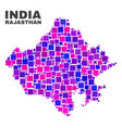 mosaic rajasthan state map of square elements vector image vector image