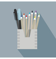 pencil holder case icon with long shadow on blue vector image
