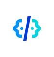 people code human developer website logo icon vector image