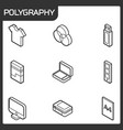 polygraphy outline isometric icons vector image vector image
