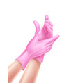 realistic nurse hand wearing sterile gloves vector image