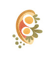 rye bread with boiled egg red sauce and greens vector image