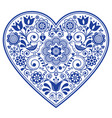 scandinavian folk heart design valentines vector image