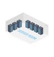 server room isometric image information storage vector image