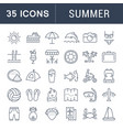 set flat line icons summer vector image vector image