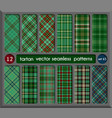 set in green tartan seamless pattern background vector image vector image
