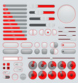 set interface buttons red and gray collection vector image