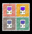 set of flat shading style icons tetris portable vector image vector image
