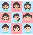 Set of Kids Face Avatar Turquoise Pink vector image vector image