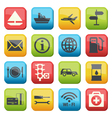 Silhouette fuel and transport colored icons vector image