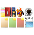 Stationary set with paper and pens vector image