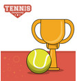 tennis sport trophy ball design image vector image