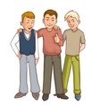 Three happy cartoon boys who support each other vector image vector image