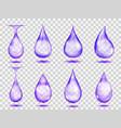 transparent purple drops vector image vector image