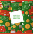 wallet seamless pattern leather purse vector image vector image
