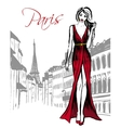 woman walking in Paris vector image