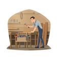 woodwork carpenter wood furniture maker vector image vector image