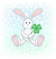 bunny holding clover leaf vector image