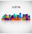austin skyline silhouette in colorful geometric vector image vector image