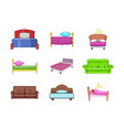 bed icon set cartoon style vector image