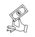bill dollar money icon vector image vector image