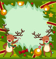 border template with two reindeers for christmas vector image vector image