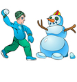 Boy with snowball and snowman vector image vector image