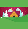 cartoon paper landscape tent christmas tree vector image
