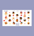 children nationalities banner website vector image vector image