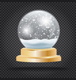 christmas crystal ball with snow on transparent vector image vector image