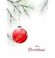 christmas decorative watercolor with pine vector image