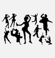 dancing pose man and women silhouette vector image vector image