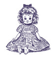 doll hand drawn vector image vector image
