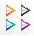 elegant triangle banners set with text space vector image vector image