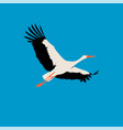 flat stork isolated stork on blue background vector image vector image