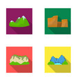 green mountains with snow tops a canyon rocks vector image