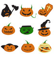 halloween pumpkin faces vector image