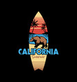hand drawing style with a california surfing vector image