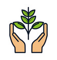 hands with plant ecology environment icon vector image