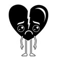 heart love broken kawaii character vector image