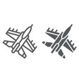 jet fighter line and glyph icon air and army vector image vector image